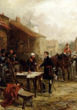 Robert Alexander Hillingford Painting - Wellington and blucher meeting before the battle of waterloo Robert Alexander Hillingford historical battle scenes