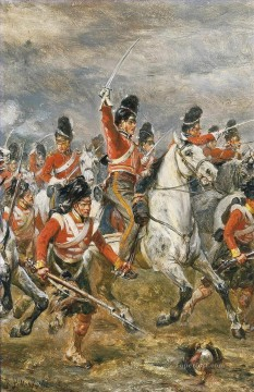 Robert Alexander Hillingford Painting - The charge of the Royal Scots Greys at Waterloo supported by a Highland regiment Robert Alexander Hillingford historical battle scenes