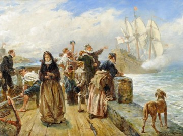 Robert Alexander Hillingford Painting - Leaving Port Robert Alexander Hillingford historical battle scenes