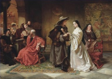 Robert Alexander Hillingford Painting - Romeo and Juliet meeting at the Capulets Ball Robert Alexander Hillingford historical battle scenes
