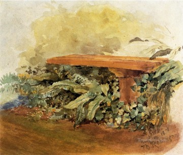 Bench Painting - Garden Bench with Ferns Theodore Robinson