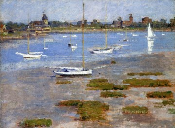 Theodore Robinson Painting - Low Tide The Riverside Yacht Club boat Theodore Robinson