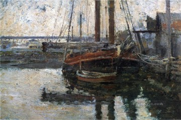 Theodore Robinson Painting - Coal Schooner Unloading boat Theodore Robinson