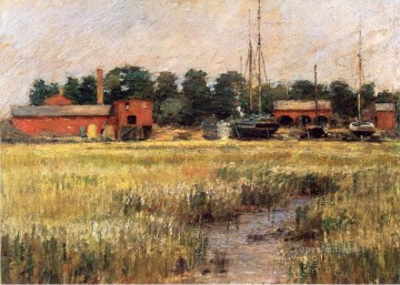 Theodore Robinson Painting - The Ship Yard Theodore Robinson