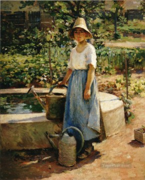Theodore Robinson Painting - At the Fountain2 Theodore Robinson