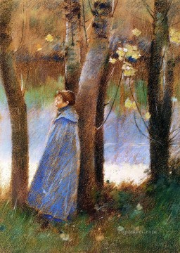 Theodore Robinson Painting - Figure in a Landscape Theodore Robinson