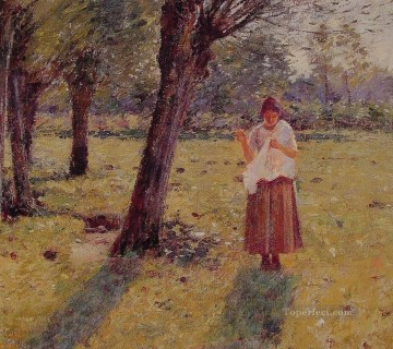 Theodore Robinson Painting - Girl Sewing Theodore Robinson