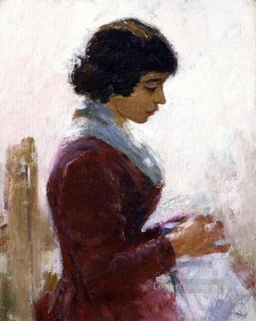 Theodore Robinson Painting - Girl in Red Sewing Theodore Robinson