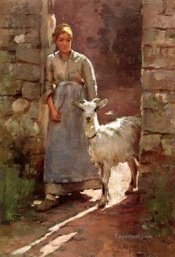 Theodore Robinson Painting - Girl with Goat Theodore Robinson