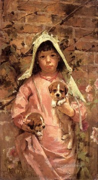 Theodore Robinson Painting - Girl with Puppies Theodore Robinson