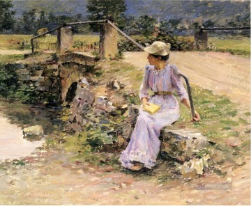 La Debacle aka Marie at the Little Bridge Theodore Robinson Oil Paintings