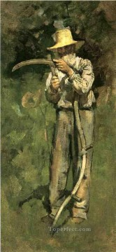 Theodore Robinson Painting - Man with Scythe Theodore Robinson