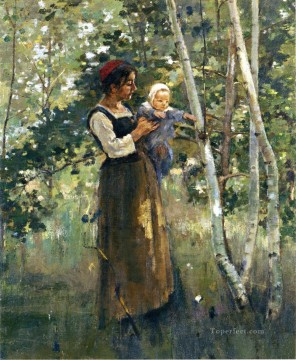 Heart Painting - Mother and Child by the Hearth Theodore Robinson