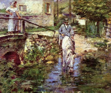 Pere Trognon and His Daughter at the Bridge Theodore Robinson Oil Paintings