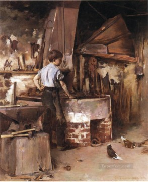 Theodore Robinson Painting - The Apprentice Blacksmith Theodore Robinson