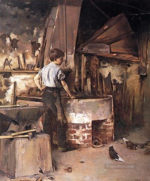 Theodore Robinson Painting - The Forge aka An Apprentice Blacksmith Theodore Robinson