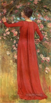 The Red Gown aka His Favorite Model Theodore Robinson Oil Paintings