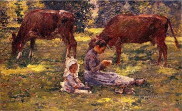 Theodore Robinson Painting - Watching the Cows Theodore Robinson