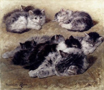 A Study Of Cats animal cat Henriette Ronner Knip Oil Paintings