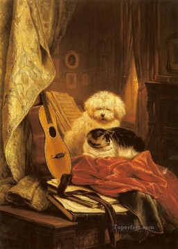 Best Friends animal dog Henriette Ronner Knip Oil Paintings