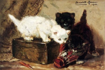 Kittens At Play animal cat Henriette Ronner Knip Oil Paintings
