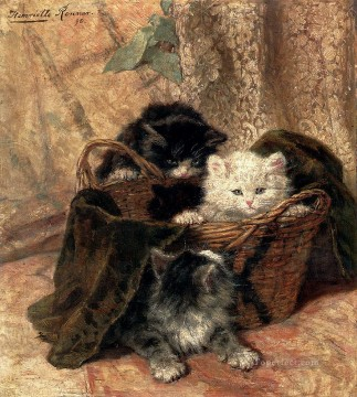 Playtime animal cat Henriette Ronner Knip Oil Paintings