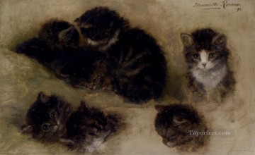 Studies Of Kittens animal cat Henriette Ronner Knip Oil Paintings