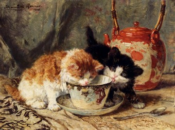 Tea Time animal cat Henriette Ronner Knip Oil Paintings