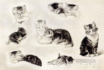 Henriette Canvas - A Study Of Cats Drinking Sleeping And Playing Henriette Ronner Knip