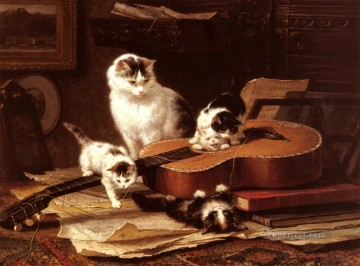 cat Art Painting - Oefeningen Op De Gitaar animal cat Henriette Ronner Knip