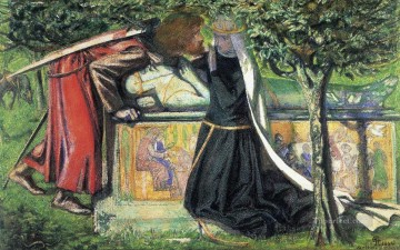 Arthurs Tomb The Last Meeting of Lancelot and Guinevere Pre Raphaelite Brotherhood Dante Gabriel Rossetti Oil Paintings