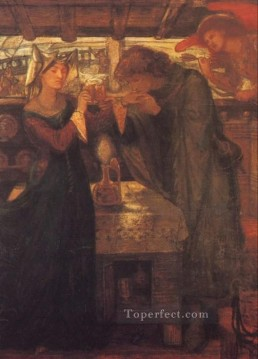 Love Painting - Tristram and Isolde Drinking the Love Potion Pre Raphaelite Brotherhood Dante Gabriel Rossetti
