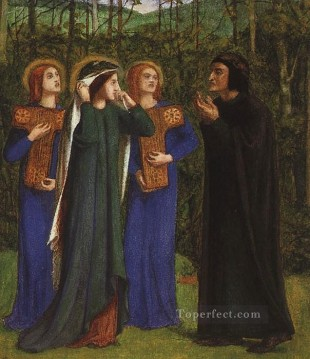 beatrice Art - The Meeting of Dante and Beatrice in Paradise Pre Raphaelite Brotherhood Dante Gabriel Rossetti