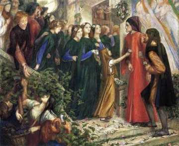 Wedding Art - Beatrice Meeting Dante at a Wedding Feast Denies him her Salutation Pre Raphaelite Brotherhood Dante Gabriel Rossetti