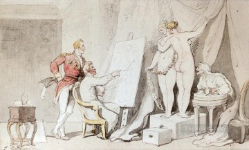 A Study In Life Drawing caricature Thomas Rowlandson Oil Paintings