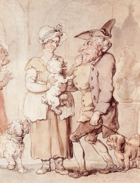 cat Art Painting - The Sick Dog caricature Thomas Rowlandson
