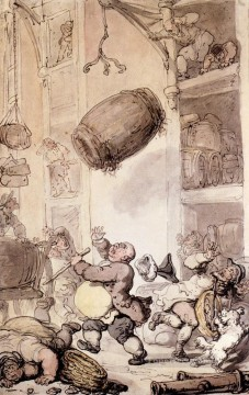 cat Art Painting - A Fall In Beer caricature Thomas Rowlandson