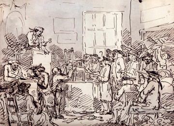 Row Painting - A Furniture Auction caricature Thomas Rowlandson