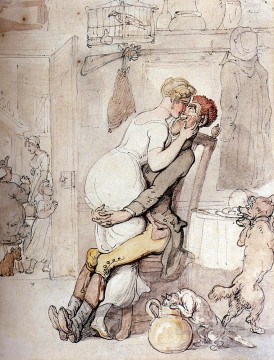 Chen Oil Painting - A Kiss In The Kitchen caricature Thomas Rowlandson