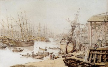 Row Painting - A View On The Thames With Numerous Ships And Figures On The Wharf caricature Thomas Rowlandson