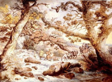 Fording The River Camel Cornwall caricature Thomas Rowlandson Oil Paintings