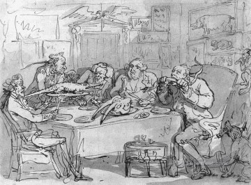 cat Art Painting - The Fish Dinner caricature Thomas Rowlandson