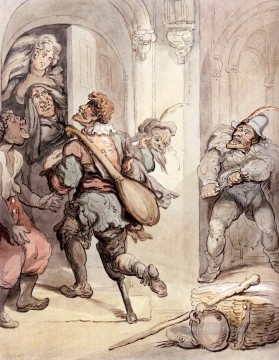 Row Painting - Travelling Players caricature Thomas Rowlandson