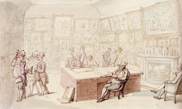 Row Painting - Mr Michells Picture Gallery At Grove House Enfield caricature Thomas Rowlandson
