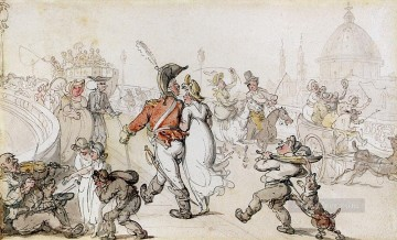 Row Painting - Elegant Company On Blackfriars Bridge caricature Thomas Rowlandson