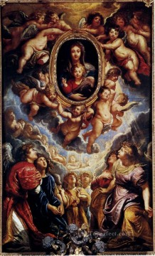 Virgin And Child Adored By Angels Baroque Peter Paul Rubens Oil Paintings