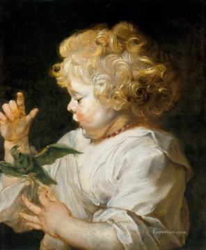 Peter Oil Painting - Boy with Bird Baroque Peter Paul Rubens