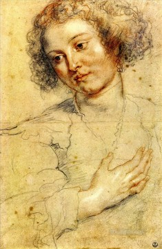 Hand Canvas - Peter Paul Head and right hand of a woman Baroque Peter Paul Rubens
