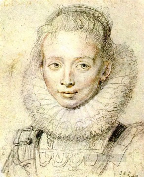 Portrait of a Chambermaid Chalk Baroque Peter Paul Rubens Oil Paintings