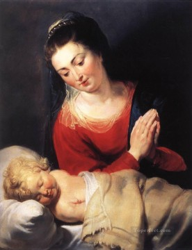 child Painting - Virgin in Adoration before the Christ Child Baroque Peter Paul Rubens